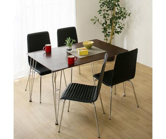 Bộ bàn ăn 1.2m Poly PVC Black.
