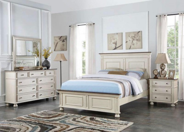 Bộ phòng ngủ Queen size white Marble