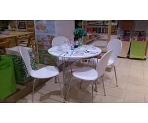 Bộ bàn ăn 1m1 gỗ uốn Round table màu trắng