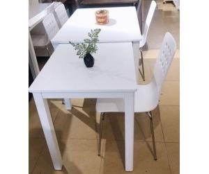 Bộ bàn ăn kéo dài - ghế Square trắng