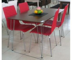 Bộ bàn ăn 1.2m ghế PVC Red