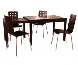 Bộ bàn ăn kéo dài - ghế Square nâu