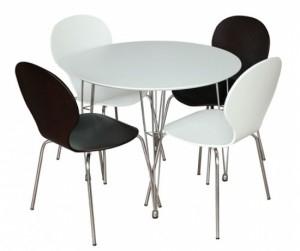 Bộ bàn ăn gỗ uốn Round table 90cm màu trắng