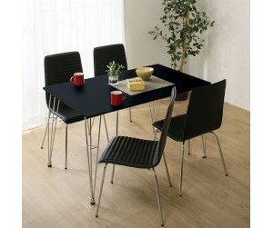 Bộ bàn ăn 1m2 Poly PVC Black